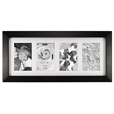 Malden International Designs Berkeley Matted Black Wood 4-Opening 4 x 6  Colllage Picture Frame