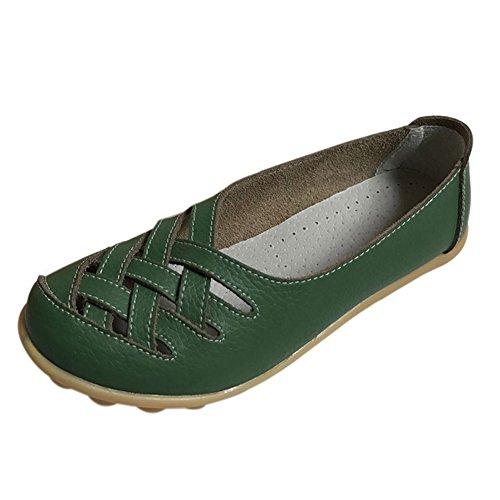 Fereshte Mocassino Da Donna In Vera Pelle Mocassino Casual Scarpe Da Guida Pantofole Piatte Slip-on Verde Militare