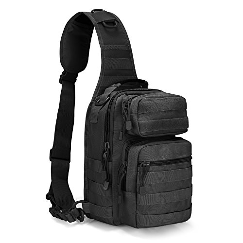 G4Free Sling Backpack Tactical Molle One Strap EDC Daypack Military Small Chest Pack for Daily use(Solid Black)
