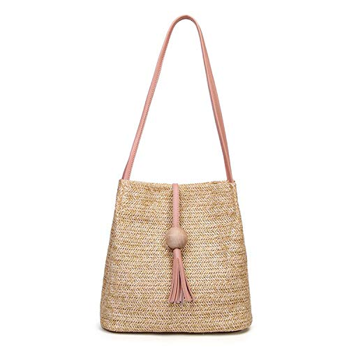 Tote Pink Straw Handbags - Women's Summer Straw Bucket Tote Bag Straw Woven Handbag Tassel Shoulder Bag (Pink)