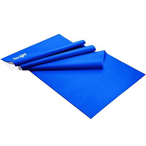 Yes4All PVC Yoga Mat / Exercise Yoga Mat for Pilates, Workout, Travel – Non Slip Yoga Mat / Yoga Floor Mat (3mm, Blue)