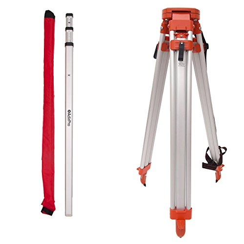 AdirPro Tripod & 3 Meter Rod Package, Includes: Aluminum 5/8-Inch 11-Threaded Flat Head Tripod with Quick Clamp, 3 Meter Aluminum Grade Rod - Metric, 3 Section telescopic With Carrying Case
