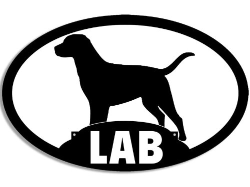 Lab Sticker Black (American Vinyl Oval LAB Silhouette Sticker (labrador black dog breed love))