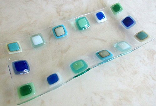 Ocean Beach Glass Plate Sea Glass Jewelry Keeper Fused Glass Sushi Plate Turquoise Blue Sea Glass Appetizer Dish Ocean Waves Beach Glass Art Beach House Decor