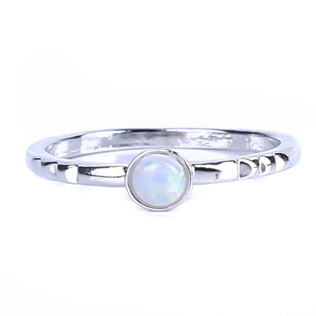 SOURBAN Women Minimalist Opal Inlay Stackable Wedding Engagement Ring,9