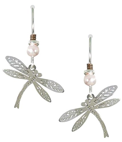 Sienna Sky Silvery Filigree Curved Dragonfly Earrings 1369 ()