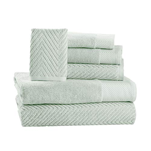 6 Piece Premium Cotton Bath Towels Set - 2 Bath Towels, 2 Hand Towels, 2 Washcloths Machine Washable Super Absorbent Hotel Spa Quality Luxury Towel Gift Sets Chevron Towel Set - Jade (Floral Bath Towels)