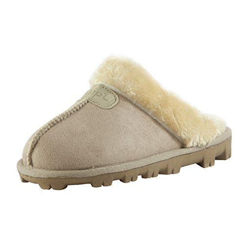 - CLPP'LI Womens Slip On Faux Fur Warm Winter Mules Fluffy Suede Comfy Slippers-Sand-8