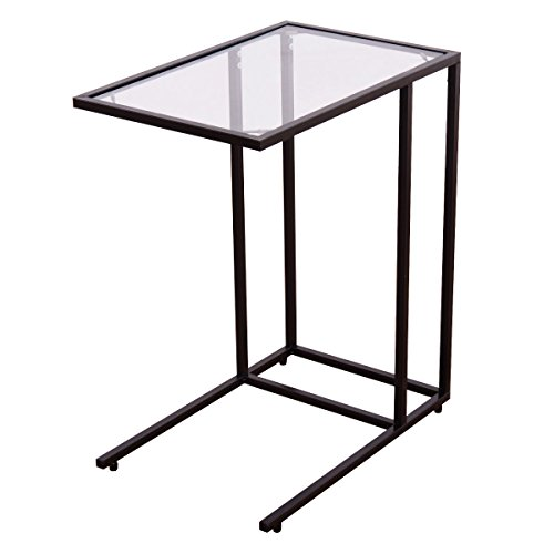Tangkula Snack Table with Glass Top, Sofa Side Ende Table Coffee Tray