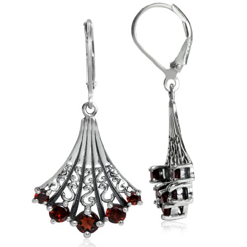5-Stone Natural Garnet Sterling Silver Victorian Style Leverback Earrings