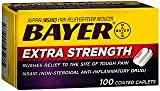 Bayer Extra Strength Aspirin Caplets - 100 Coated Caplets, Pack of 6