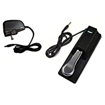 HQRP AC Adapter & Sustain Pedal for Casio CTK-2080 CTK-2200 CTK-2300 CTK-3200 LK-160 LK-165 LK-240 LK-280 XW-P1 XW-G1 WK-240 WK-240 WK-3200 LK-247 Keyboards