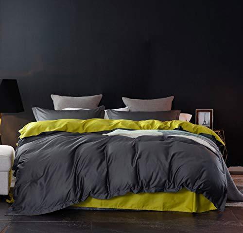 SLEEPBELLA Duvet Cover Set, 1000 Thread Count Egyptian Cotton Comforter Cover Reversible Sateen (Dark Grey&Lemon Yellow, King) (Cover Grey Duvet And Yellow)