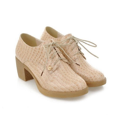 US WeenFashion Solid 5 Apricot whith Round Women's Toe Heel B Closed PU Low Square Bandage M Pumps 5 TwA8qTr