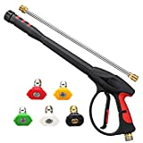 MATCC Pressure Washer Gun 4000 PSI 2019 Upgrade Version Power Spray Car Wash Gun with M22-14mm Thread 19 inch Extendable Wand and 5 Nozzle Tips for Car High Pressure Power Washer