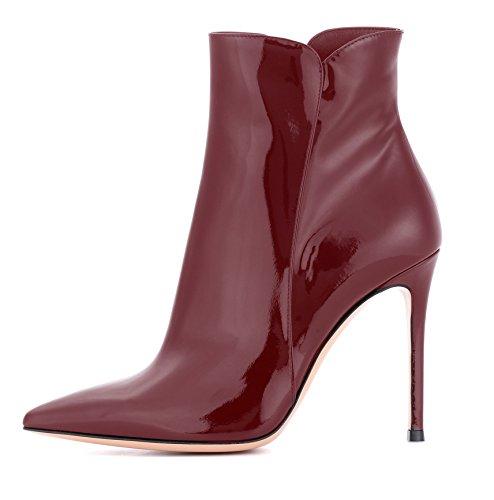 EDEFS Damen Ankle Boots,Stiefeletten mit Absatz in Schwarz,High Heel Winter Stiefel Burgundy