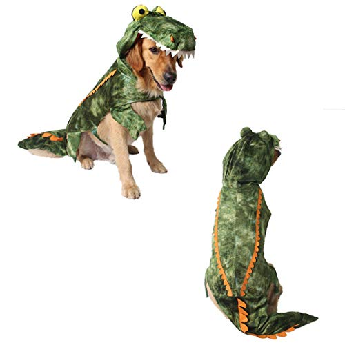(Unigift Green Crocodile Pets Shirt,Alligator Costume Clothes for Dog and Cat Winter Coat Dragon Dinosaur Costume Hoodie Plush Party Warm Animal Costume Festival Performance Costumes(Small)