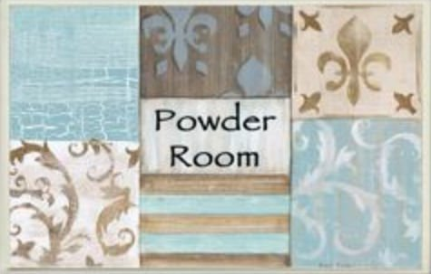 The Stupell Home Decor Collection Fleur de Lis Powder Room Blue, Brown and Beige Bathroom Wall Plaque