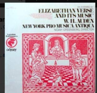 An Evening of Elizabethan Verse And Its Music / W. H. Auden and the New York Pro Musica Antiqua directed by Noah Greenberg (Pro Vers)