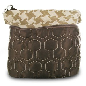 Travelon Quilted Nylon Zip-Top Train Case - Brown/Houndstooth Pattern from Travelon