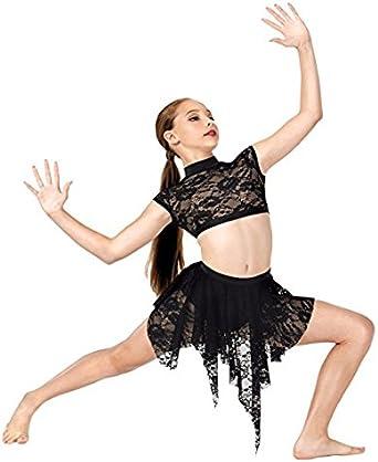 LC1025 Lace Cap Sleeve Dance Crop Top