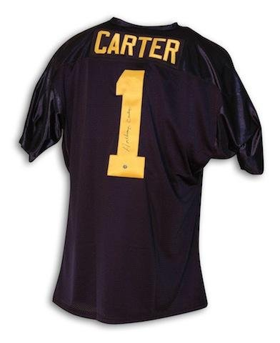 Anthony Carter Autographed Jersey - Michigan University Blue Throwback - Autographed NFL Jerseys