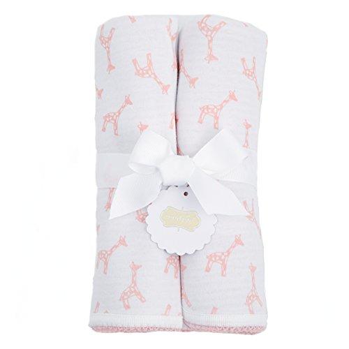 Mud Pie Newborn Blankets (Mud Pie Giraffe Reversible Cotton Baby Blanket, Pink)