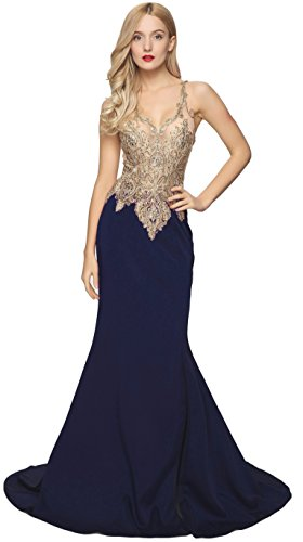Meier Women's Sleeveless Emboridery Bead V-Neck Evening Dress with Slit Navy size 8 by Meier
