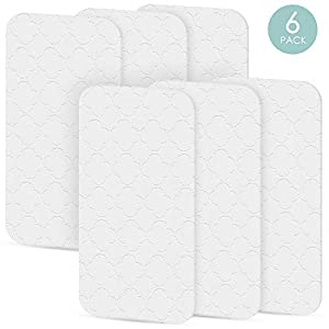 TILLYOU Portable Quilted Changing Pad Liners Waterproof, Ultra Soft Thick Breathable Changing Table Cover Liners, 11.5″ X 23″ Washable Reusable Changing Mats Sheet Protector, 6 Pack