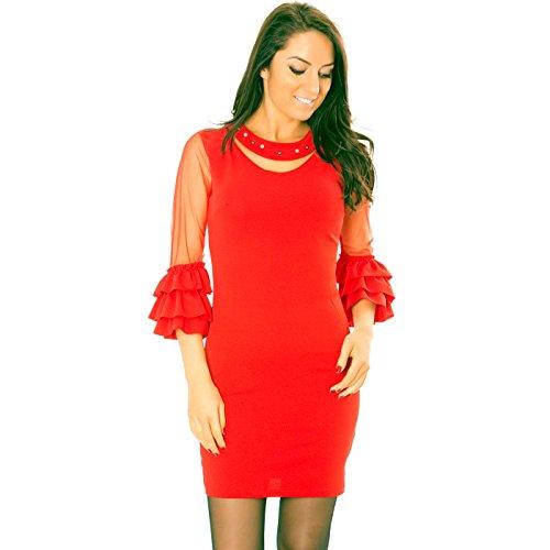 Line rot Wear Damen Kleid Miss Rot nw6ZYq775