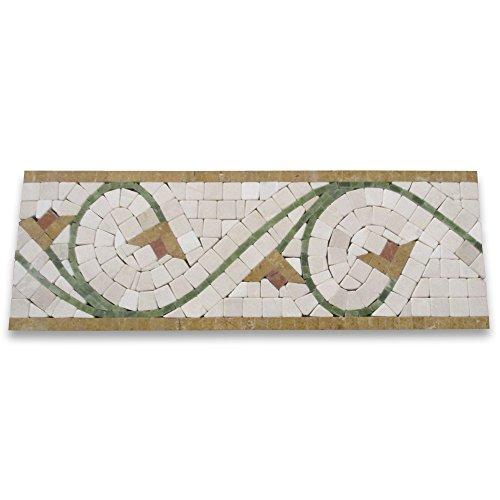 Tile 5 Piece Finish Natural (Agean Antique 5x14-1/2 Marble Mosaic Border Tumbled)