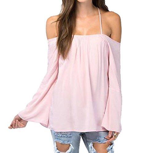 4f01743cfde3e9 Womens Halter Backless Cross Straps Loose Off Shoulder Shirt Blouse Top(Pink  XL) - Buy Online in Oman.