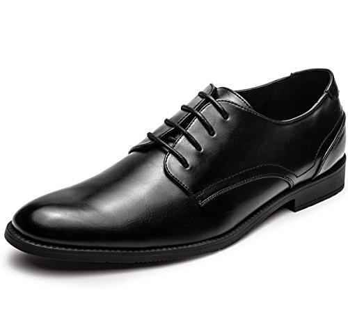 GM GOLAIMAN Men's Leather Oxford Dress Shoes Formal Plain Toe Lace-up Modern Shoes Black 11 Black Leather Formal Shoe