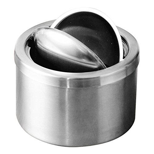 RUOYOU Windproof Ashtray,Creative Stainless steel Ashtray With lid For Home Bars-A by RUOYOU (Image #3)