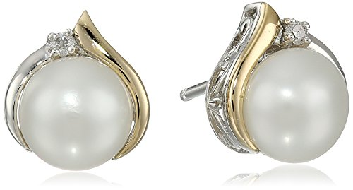 Yellow Diamond Accent - Sterling Silver and 14k Yellow Gold Diamond Accent Freshwater Cultured Pearl Stud Earrings (7mm)