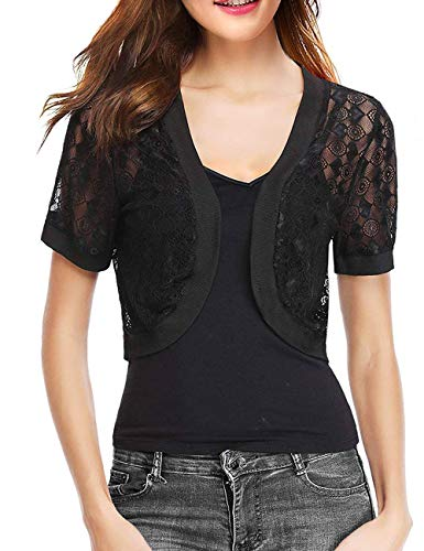 - Short Sleeve Bolero Cardigan for Women Shrug Mesh Sweater Lace Jacket(Black,S)