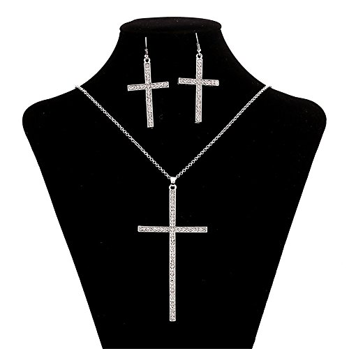 JIN Crystal High-End Crystal Faith Jewelry Korean Fashion Cross, White K necklace Pendant Necklace For (High End Cross)