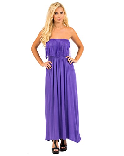 2LUV Women's Strapless Maxi Dress W/ Fringe Trimmed Neckline Purple M (7101-PURPL) (H And M Fancy Dress)
