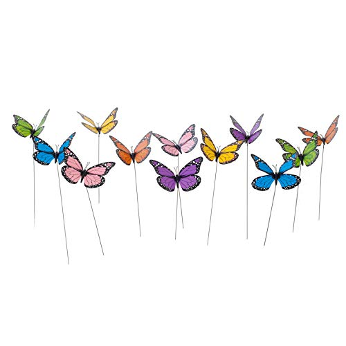 Butterfly Garden Ornaments & Patio Stakes Butterflies Plant Picks 12 Pcs Set (Garden Metal Butterfly Ornaments)