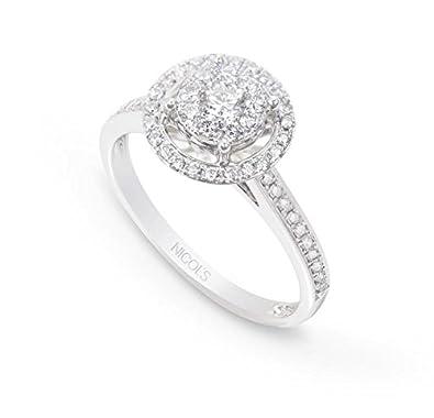 NICOLS 14710800111 - Anillo Diamantes Rosetón DIAMOND CLASSIC NICOLŽS. Fabricada en oro blanco y diamante talla brillante de peso total 0.77ct.