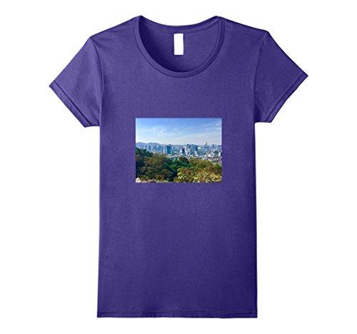 Womens Seoul City Skyline T-Shirt | South Korea Tower Mountain Large Purple - South Tower