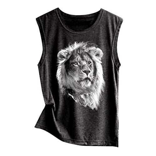 (Toimothcn Women Sleeveless Flower Print T Shirt Vest Loose Casual Soft Comfortable Tank Top (Black3,M))