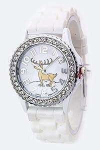 Trendy Fashion Jewelry Reindeer Crystal Watch - L By Fashion Destination