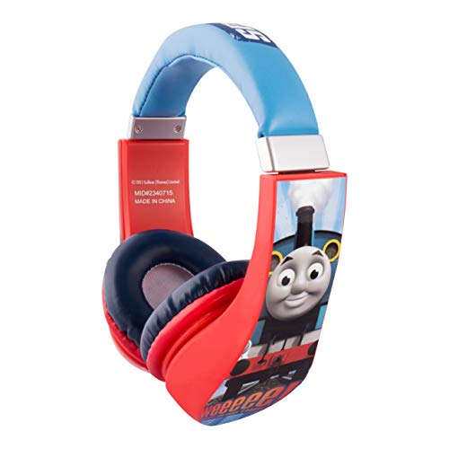 (Thomas and Friends Cartoon Character Train 30385 Kid Safe Over the Ear Headphone w/Volume Limiter by Sakar, clear bass, warm highs and lows, 3.5MM Stereo Jack, Blue, Red & White by Sakar)
