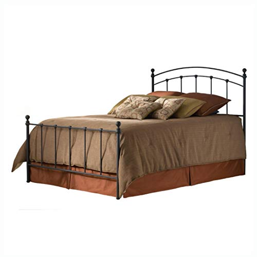 Metal Beds, Full Size Metal Bed with Headboard and Footboard in Matte Black ()