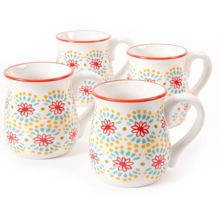 The Pioneer Woman Flea Market 18 oz Multi Burst Red Decorated Belly Mugs, Set of 4