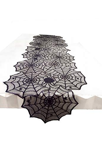 Shinybaby Black Lace Table Runner Overlay with Spider Web and Mat for Halloween Party,Easter,Fireplace and Mantle Cover Decoration, 74 x18