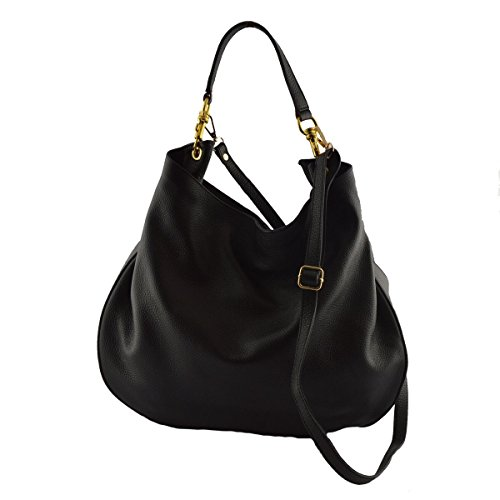 Borsa Donna A Tracolla Colore Nero - Pelletteria Toscana Made In Italy - Borsa Donna