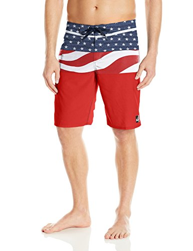 Quiksilver Men's Everyday Blocked Vee 20 Inch Boardshort Swim Trunk, Quick Red, 28