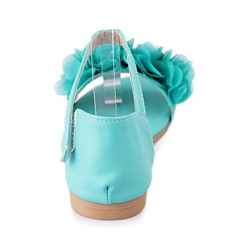 Velcro Sandales Unie d'orteil Ouverture Non Couleur PU Femme Plat Odomolor Vert Cuir Talon à v5q6xpRwz